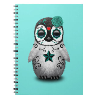 Blue Day of the Dead Baby Penguin Notebook