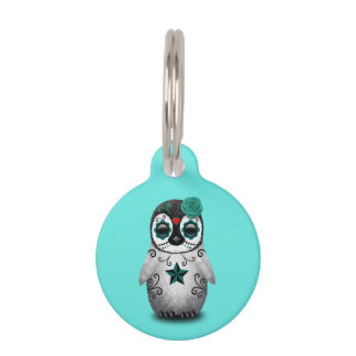 Blue Day of the Dead Baby Penguin Pet ID Tag