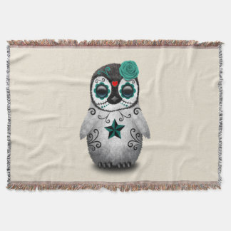 Blue Day of the Dead Baby Penguin Throw Blanket