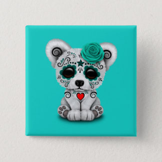 Blue Day of the Dead Baby Polar Bear 15 Cm Square Badge