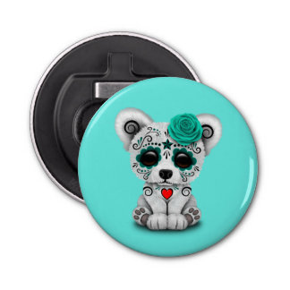 Blue Day of the Dead Baby Polar Bear Bottle Opener