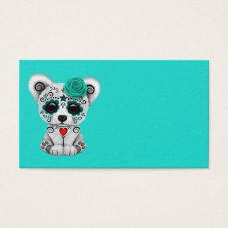Blue Day of the Dead Baby Polar Bear Business Card