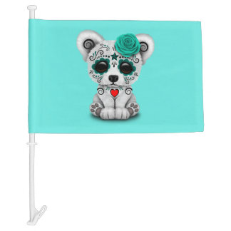 Blue Day of the Dead Baby Polar Bear Car Flag
