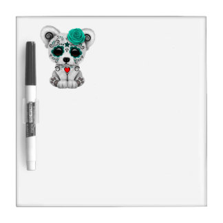 Blue Day of the Dead Baby Polar Bear Dry Erase Board