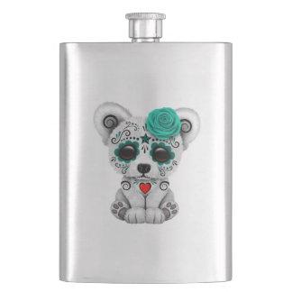 Blue Day of the Dead Baby Polar Bear Hip Flask