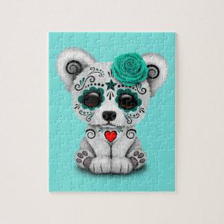 Blue Day of the Dead Baby Polar Bear Jigsaw Puzzle