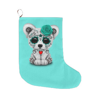 Blue Day of the Dead Baby Polar Bear Large Christmas Stocking