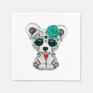 Blue Day of the Dead Baby Polar Bear Paper Serviettes
