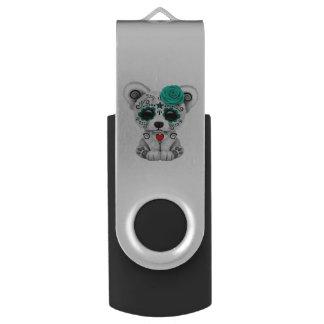 Blue Day of the Dead Baby Polar Bear USB Flash Drive