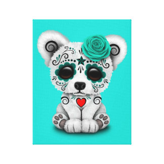 Blue Day of the Dead Baby Puppy Dog Canvas Print