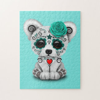 Blue Day of the Dead Baby Puppy Dog Jigsaw Puzzle