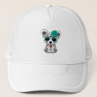 Blue Day of the Dead Baby Puppy Dog Trucker Hat