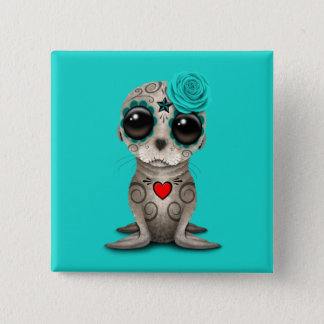 Blue Day of the Dead Baby Sea Lion 15 Cm Square Badge