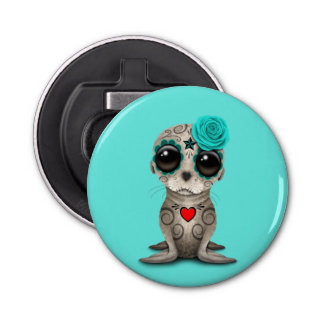 Blue Day of the Dead Baby Sea Lion Bottle Opener