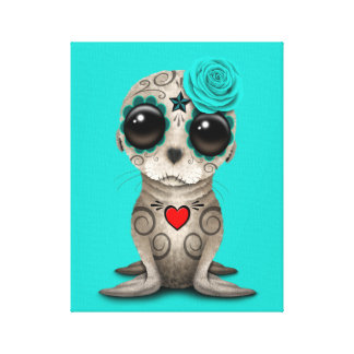 Blue Day of the Dead Baby Sea Lion Canvas Print