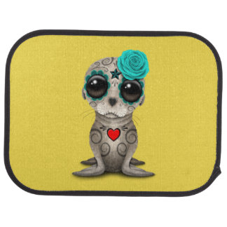 Blue Day of the Dead Baby Sea Lion Car Mat