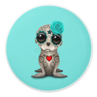 Blue Day of the Dead Baby Sea Lion Ceramic Knob
