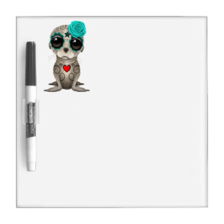 Blue Day of the Dead Baby Sea Lion Dry Erase Board