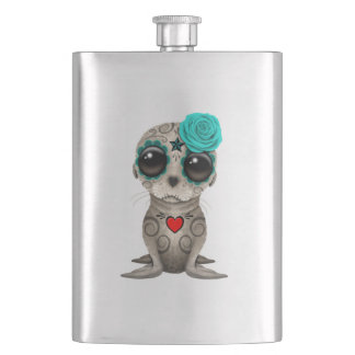Blue Day of the Dead Baby Sea Lion Hip Flask