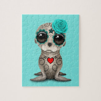 Blue Day of the Dead Baby Sea Lion Jigsaw Puzzle