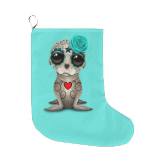 Blue Day of the Dead Baby Sea Lion Large Christmas Stocking