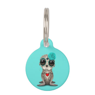 Blue Day of the Dead Baby Sea Lion Pet ID Tag
