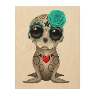 Blue Day of the Dead Baby Sea Lion Wood Wall Art