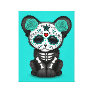 Blue Day of the Dead Black Panther Cub Canvas Print