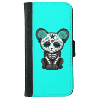 Blue Day of the Dead Black Panther Cub iPhone 6 Wallet Case
