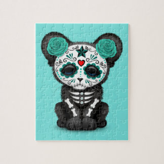 Blue Day of the Dead Black Panther Cub Jigsaw Puzzle