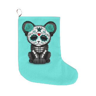 Blue Day of the Dead Black Panther Cub Large Christmas Stocking