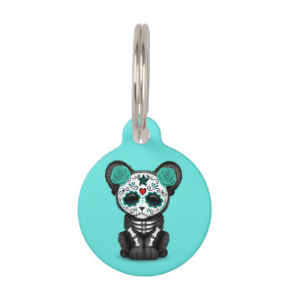 Blue Day of the Dead Black Panther Cub Pet Name Tag