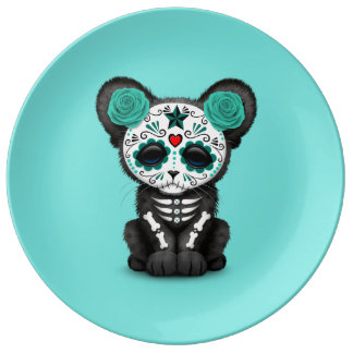 Blue Day of the Dead Black Panther Cub Plate