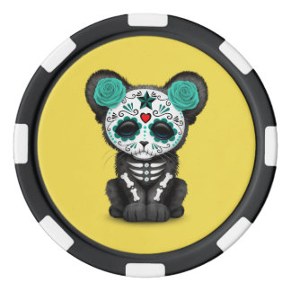 Blue Day of the Dead Black Panther Cub Poker Chips