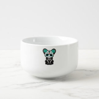 Blue Day of the Dead Black Panther Cub Soup Mug
