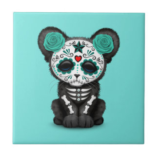 Blue Day of the Dead Black Panther Cub Tile