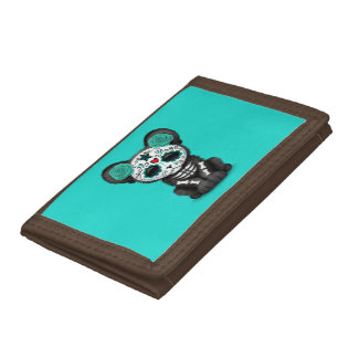 Blue Day of the Dead Black Panther Cub Tri-fold Wallets