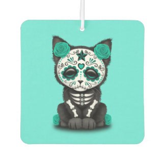 Blue Day of the Dead Kitten Car Air Freshener