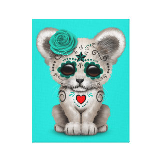 Blue Day of the Dead Lion Cub Canvas Print