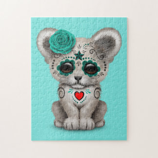Blue Day of the Dead Lion Cub Jigsaw Puzzle