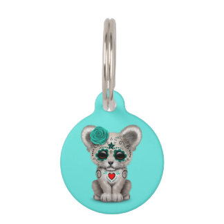 Blue Day of the Dead Lion Cub Pet ID Tag