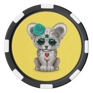 Blue Day of the Dead Lion Cub Poker Chips