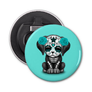 Blue Day of the Dead Puppy Dog Bottle Opener