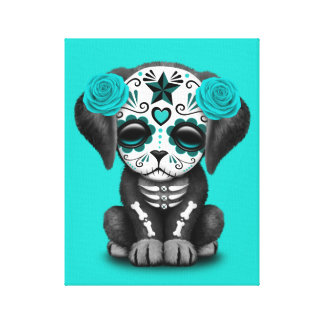 Blue Day of the Dead Puppy Dog Canvas Print
