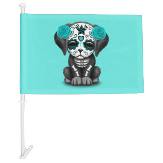 Blue Day of the Dead Puppy Dog Car Flag