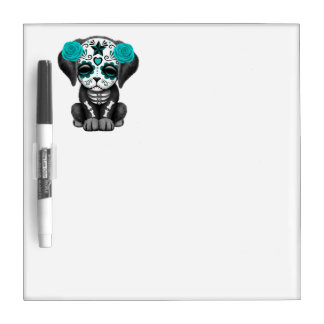 Blue Day of the Dead Puppy Dog Dry Erase Board