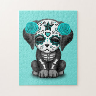 Blue Day of the Dead Puppy Dog Jigsaw Puzzle