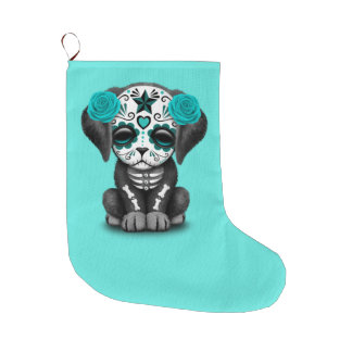 Blue Day of the Dead Puppy Dog Large Christmas Stocking