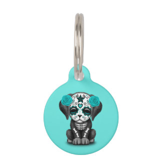 Blue Day of the Dead Puppy Dog Pet Tag