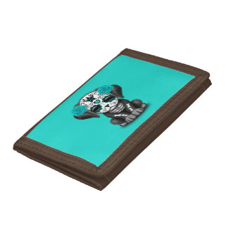 Blue Day of the Dead Puppy Dog Trifold Wallet